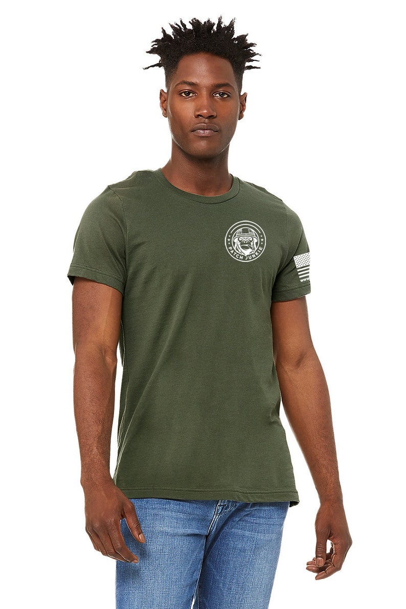 Patch Junkie T-Shirt Military Green & White Decals image 0