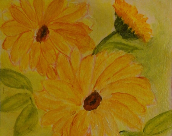 Sunny Day Sunflowers Acrylic original Painting by Rosie Foshee on 246 lb linen finish paper for acrylics home decor, wall decor, collectible