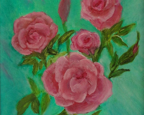MADE TO ORDER Roses in acrylics on 5x7 Greeting Card with White Envelope Original Painting by Rosie Foshee Frame for Home Decor & Wall Decor