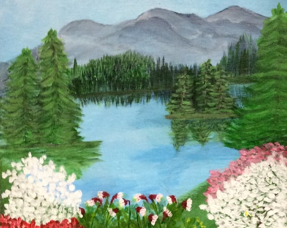 MADE TO ORDER Scenic Flowering Landscape Original Acrylic Painting by Rosie Foshee  Wall Hangings Art & Collectibles Home Living Home Decor