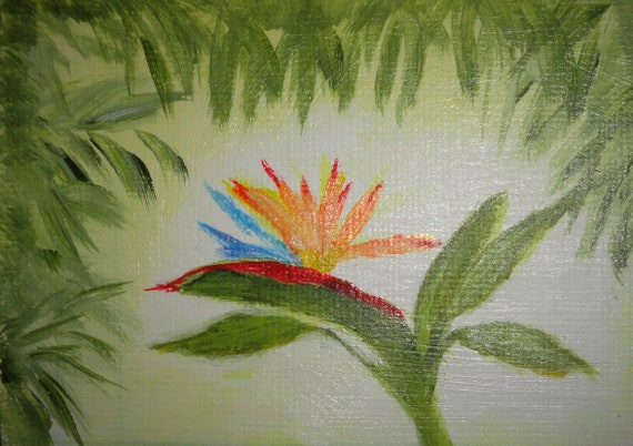 Bird of Paradise tropical flower painting ACEO 3.5 x 2.5 Collectible Acrylic Art on 140 lb Paper by Rosie Foshee Side Table Home Decor