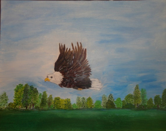MADE TO ORDER Bald Eagle in Flight over Lake Marion, Santee South Carolina. Acrylic or Oil Painting by Rosie Foshee Home & Wall Decor