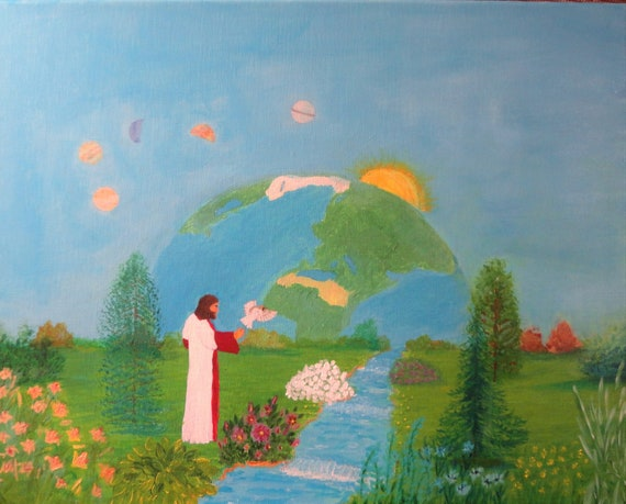 Creation of Heaven and Earth 2 Instant Digital Download Files Acrylic Painting by Rosie Foshee Jesus Inspirational Religious