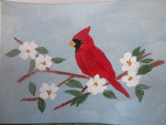 Red Cardinal on Dogwood Flowering Branch by Rosie Foshee in Acrylics on 140 lb art paper, wall decor for small spaces Free Shipping in U.S.
