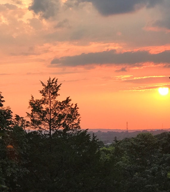 Red Skyscape Over Hendersonville TN Photography Instant Digital Download by Rosie Foshee Art Prints Wall Decor Printable Download Sunset