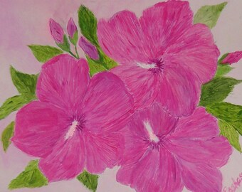 Rose of Sharon Acrylic Artwork by Rosie Foshee Art Still Life Floral Painting In Bold Pink