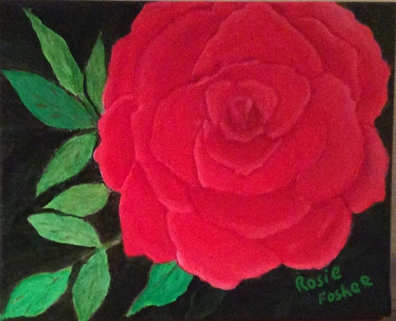 MADE TO ORDER Red Rose Acrylic or Oil Painting Collectible Art, Home Decor, Wall Decor, Home & Living, Art Collectibles, Home Living