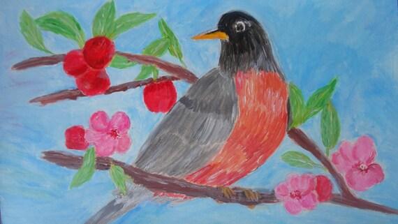 American Robin in Apple Tree Instant Digital Download Acrylic Painting by Rosie Foshee Printable Bird Fine Art