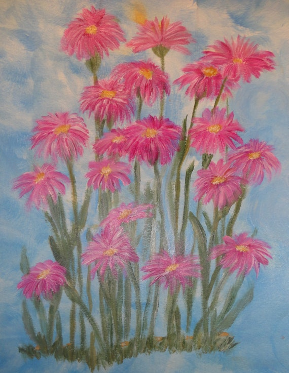 Pink Asters Flowers on Mottled Blue Background Acrylic Painting by Rosie Foshee on 140 lb. Acid-Free Heavy Weight Art Paper Archival Quality