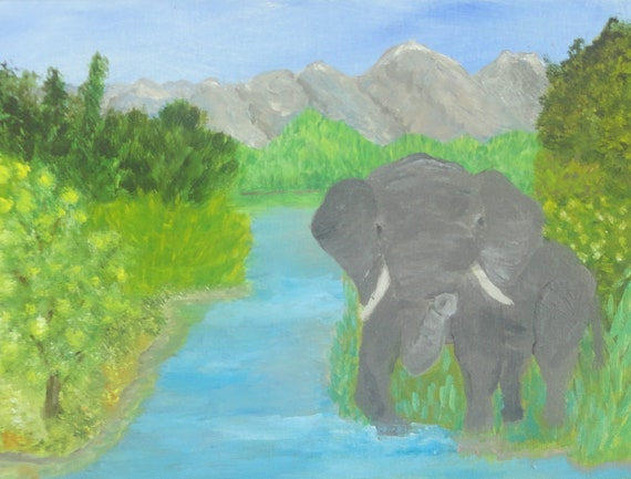 MADE TO ORDER Baby Elephant in Water Brook Home Decor, Art Collectibles, Wall Decor for Child's Room Acrylic or Oil Painting by Rosie Foshee