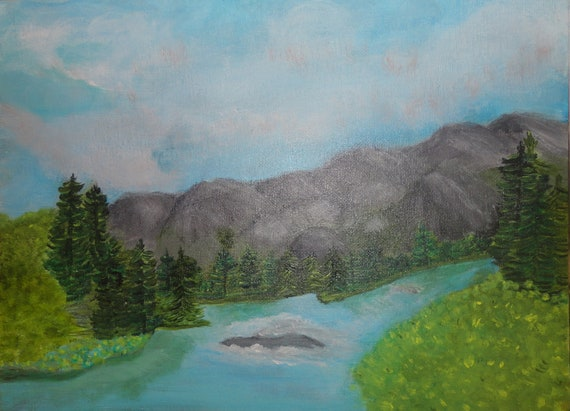 MADE TO ORDER Pidgeon River in Smoky Mountains Acrylic Collectible Art Painting by Rosie Foshee Blue & Green Wall Decor