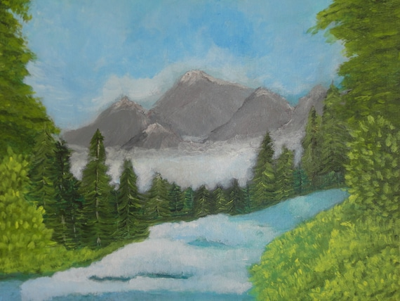 MADE TO ORDER Rushing Waters of Pidgeon River in The Great Smoky Mountains Acrylic Painting by Rosie Foshee Fine Art Original Painting Decor