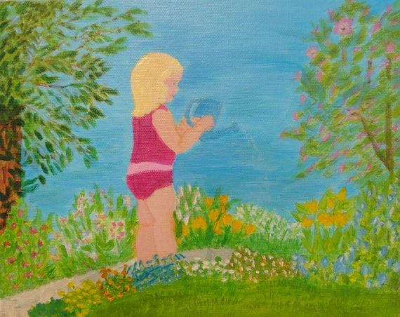The Littlest Gardener Instant Digital Download Acrylic Painting by Rosie Foshee Art Prints Floral Landscape, Little Girls Room Home Decor