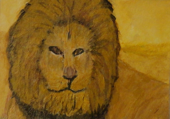 ACEO The King Is Coming Acrylic Painting of Lion Art Collectible by Rosie Foshee Home Decor Wall Decor Wall Hanging Animal Wildlife