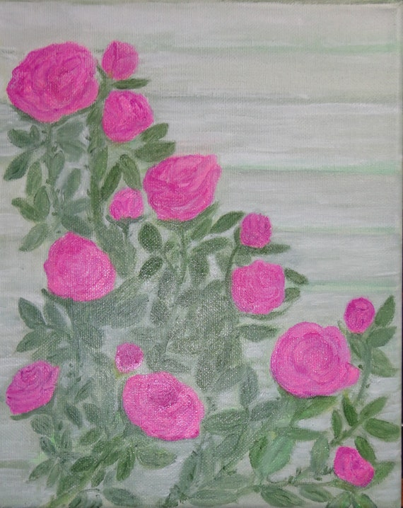 MADE TO ORDER Pink Roses Collectible Original Acrylic Painting on canvas by Rosie Foshee Home & Living,  Wall Decor Painting Wall Hanging