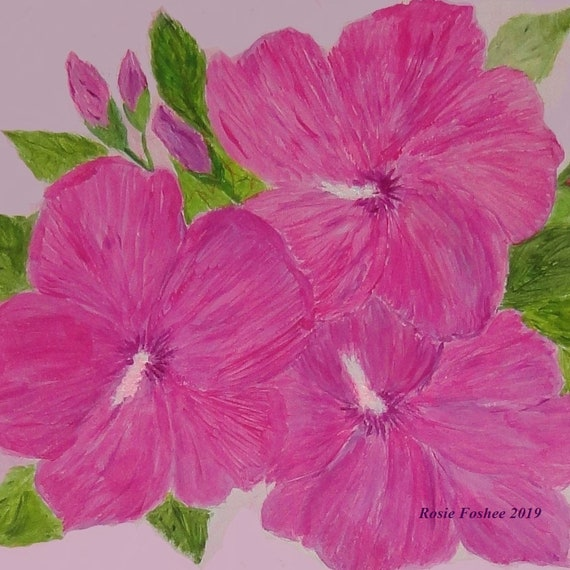 Rose of Sharon, Vibrant Pink, Original Realism Style Acrylic Painting by Rosie Foshee on 140 lb. Acid-Free Watercolor Paper Home Decor