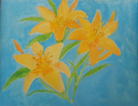 Yellow Day Lillies on Blue Background Acrylic Art by Rosie Foshee on Heavy Weight Art Paper Floral Painting Small Space Wall Decor Unframed