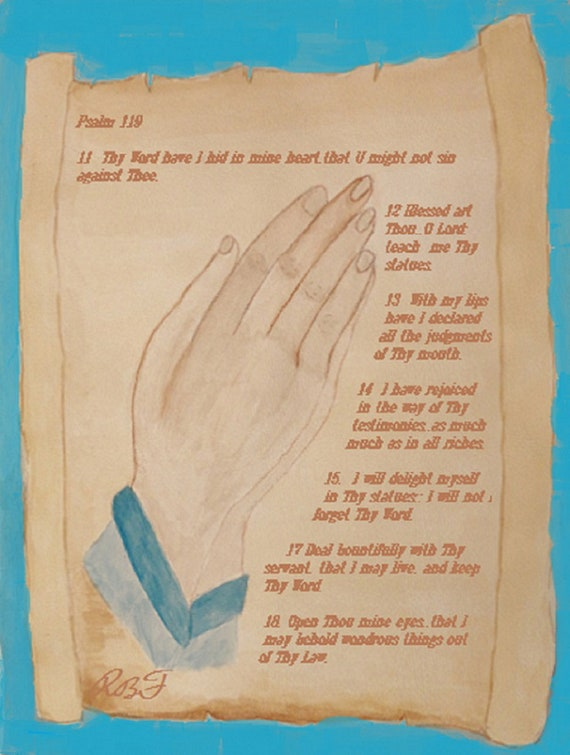 Praying Hands Watercolor Art by Rosie Foshee Instant Digital Download for Art Prints for Bible Journal, home decor, Bible class decor,