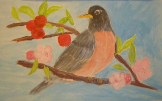 Red Breast Robin on Apple Tree Fruitful & Flowering Branch Acrylics by Rosie Foshee on 140 lb heavy weight art paper Gift for Bird Watchers