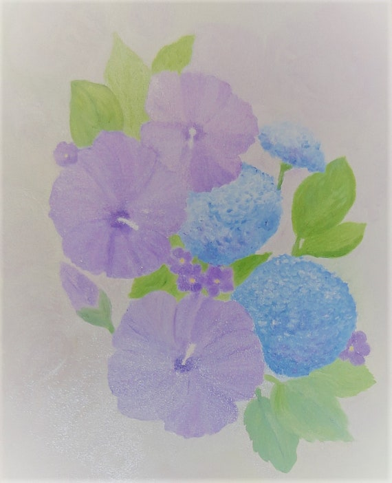 MADE TO ORDER Violet Rose of Sharon & Blue Hydrangea Original Painting 20 x 16 by Rosie Foshee Home Decor Wall Decor