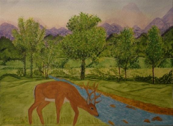 Deer at Waterbrook Instant Digital Download Watercolor Art, handpainting by Rosie Foshee Woodland Doe Wildlife Art Print Home Wall Decor