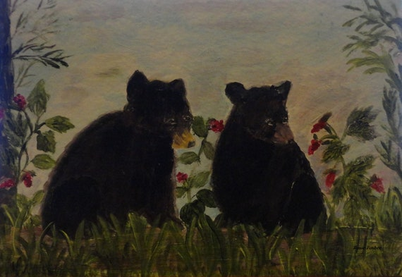 Made To Order Black Bear Cubs Acrylic Painting by Rosie Foshee Choose ACEO. 5 x7 Greeting Card, etc., original artwork, home wall decor