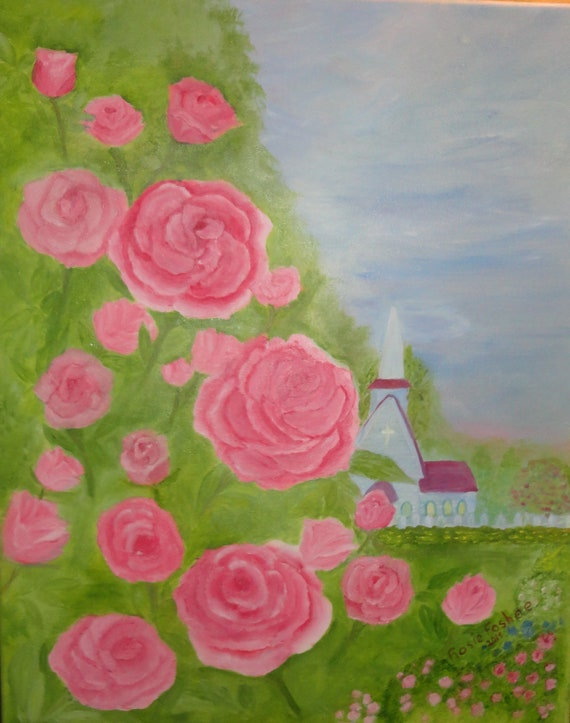 MADE TO ORDER Crimsom Rose Garden Acrylic or Oil Painting by Rosie Foshee Collectible Arts, wall decor, art & collectibles, home living
