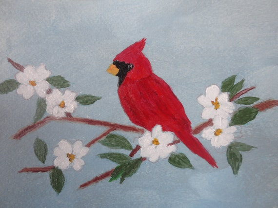 Red Cardinal on Dogwood Branch Instant Digital File Download Acrylic Art by Rosie Foshee Art Prints