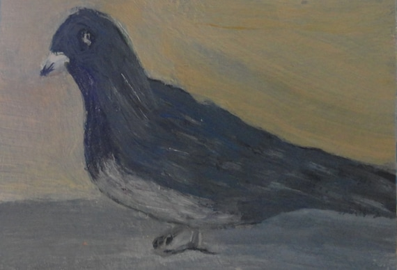 "Pidgeon Visiting us at Panama City Beach, FL  Acrylic Painting ACEO 3.5 x 2.5"" Collectible Art,Bird, decor, home wall decor,"