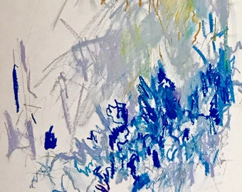 """18""""x24"""" mixed media drawing graphite and oil pastel on cold press watercolor paper, blue and purple, abstract art, unframed"""
