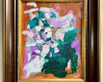 """Framed Original Abstract Painting on 8""""x10"""", floral abstract stretched canvas by artist Megan Watkins"""