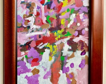 """Framed Original Abstract Acrylic Painting on 11""""x14"""" stretched canvas, floral abstract, by Artist Megan Watkins"""