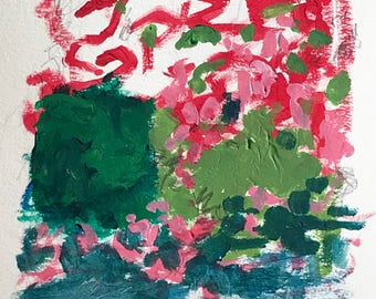 """Unframed Original Mixed Media Abstract Acrylic Pink and Green Painting with Graphite on 9""""x12"""" Cold Press Paper by Artist Megan Watkins"""