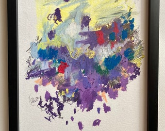 """Framed Original Abstract Purple and Yellow Oil Pastel Drawing on 9""""x12"""" Cold Press Paper by Artist Megan Watkins"""