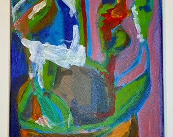 """Unframed original abstract pothos plant 8""""x10"""" painting on canvas by artist Megan Watkins"""