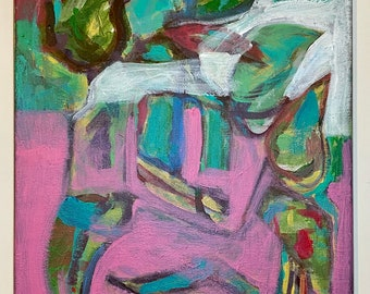 """Original unframed abstract expressionist design acrylic painting on 11""""x14"""" stretched canvas by artist Megan Watkins"""