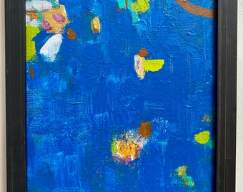 """Original Framed Blue Abstract Acrylic Painting with Green Accents on 8""""x10"""" Stretched Canvas by Artist Megan Watkins"""