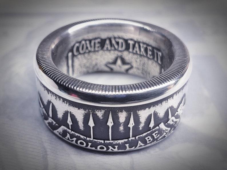 d7d08ce53d35 Molon Labe 999 Fine Silver Coin Ring