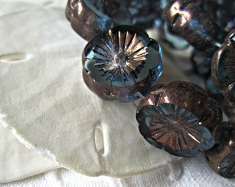 Aqua Flower Glass Beads Flower Blue Beads Aqua Flower Czech Glass Beads Flower Aqua Beads Aqua Flower Beads (4pcs) 257V3