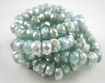 Mini Aqua Blue Mercury Look Roller Czech Glass Beads Blue Czech Roller Beads Roller Aqua Czech Glass Beads 9x6mm (10 pcs) 291V3