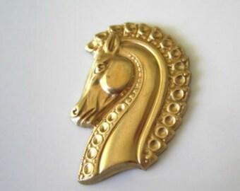 Raw Brass Roman Horse Stamping Brass Stallion Greek Horse Findings Raw Brass Art Nouveau Horse Head Stampings 41x28mm (1 pc) 7V17