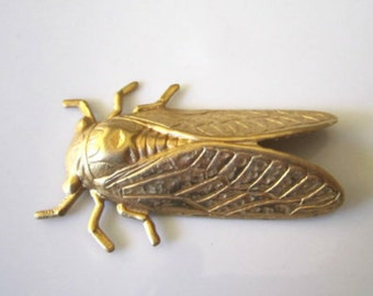 Raw Brass Stamped Cicada Brass Insect Stamped Findings Brass Stamping Cicada Jewelry Supplies Cicada Raw Brass 50mm (1 pc) 126V8