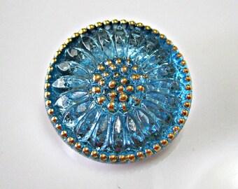 Aqua Daisy Czech Buttons Turquoise Czech Glass Handmade Buttons Blue Daisy Button Turquoise Czech Glass Buttons 22mm (1 pc) 11BV3