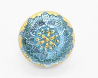 Aqua Daisy Czech Buttons Turquoise Czech Glass Handmade Buttons Blue Daisy Button Turquoise Czech Glass Buttons 18mm (1 pc) 34BV3