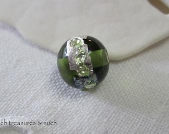 Green Lamp Work Czech Glass Beads Silver Lamp Work Czech Glass Beads Silver Metallic Czech Glass Beads 8mm (1 pc) 127V3