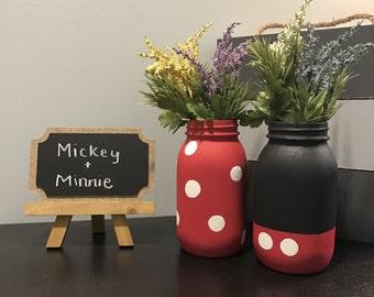 Mickey and Minnie Mason Jar Set