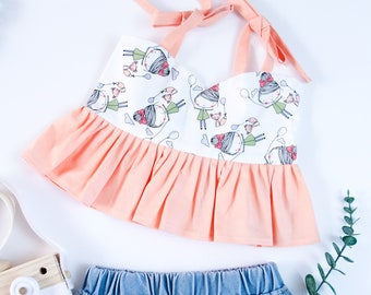 Size 4T Majestic Marie The Jade Ruffle Crop Top Ashley Jade Creations Handmade in USA Toddler /& Girls Outfit