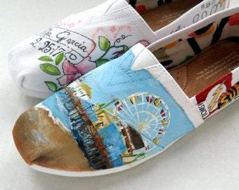 Bride's Love Story Wedding Shoes Unique Hand Painted Shoes Bride's Wedding Shoes TOMS Wedding Flats Painted Shoes Gift for Bride Shower Gift