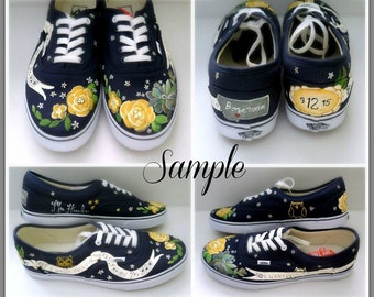 d2fb869e01d616 Bride s Love Story Wedding Shoes Unique Hand Painted Shoes Bride s Wedding Shoes  Custom VANS Wedding Flats Painted Wedding Shoes VANS