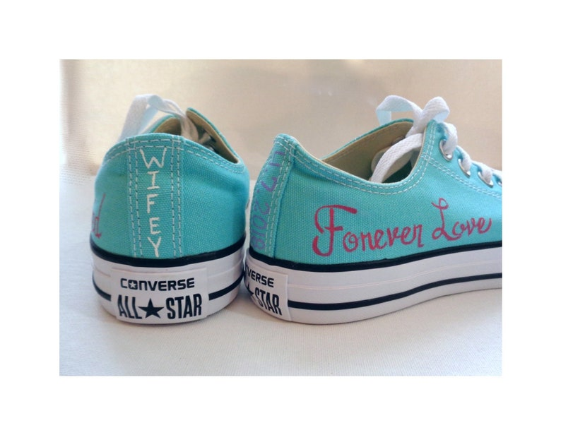 Just Married Aqua Wedding Converse Custom Bridal Shoes Wedding  156a75a5beaa